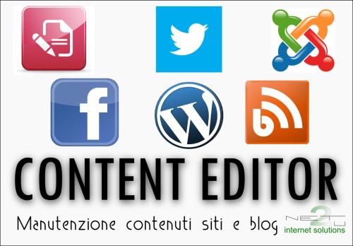 Content Editor, aggiornamento siti web, pagin facebook o blog